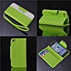 myLife Spring Bud Green + Alabaster White {Modern Design} Faux Leather (Card, Cash and ID Holder + Magnetic Closing + Hand Strap) Slim Wallet for the iPhone 5C Smartphone by Apple (External Textured Synthetic Leather with Magnetic Clip + Internal Secure Snap In Hard Rubberized Bumper Holder)