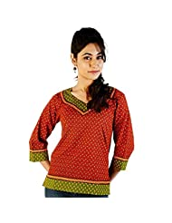 Jaipur RagaEthnic Hand Block Print Red-Green Cotton Top Red-Green Girls Kurti