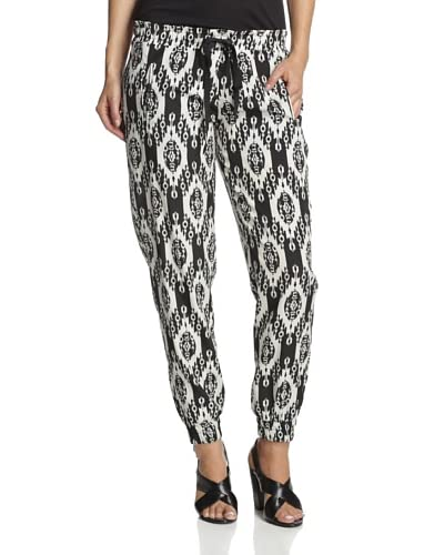 Drew Women's Pant with Banded Cuffs  [Tribal Print/Black/White]