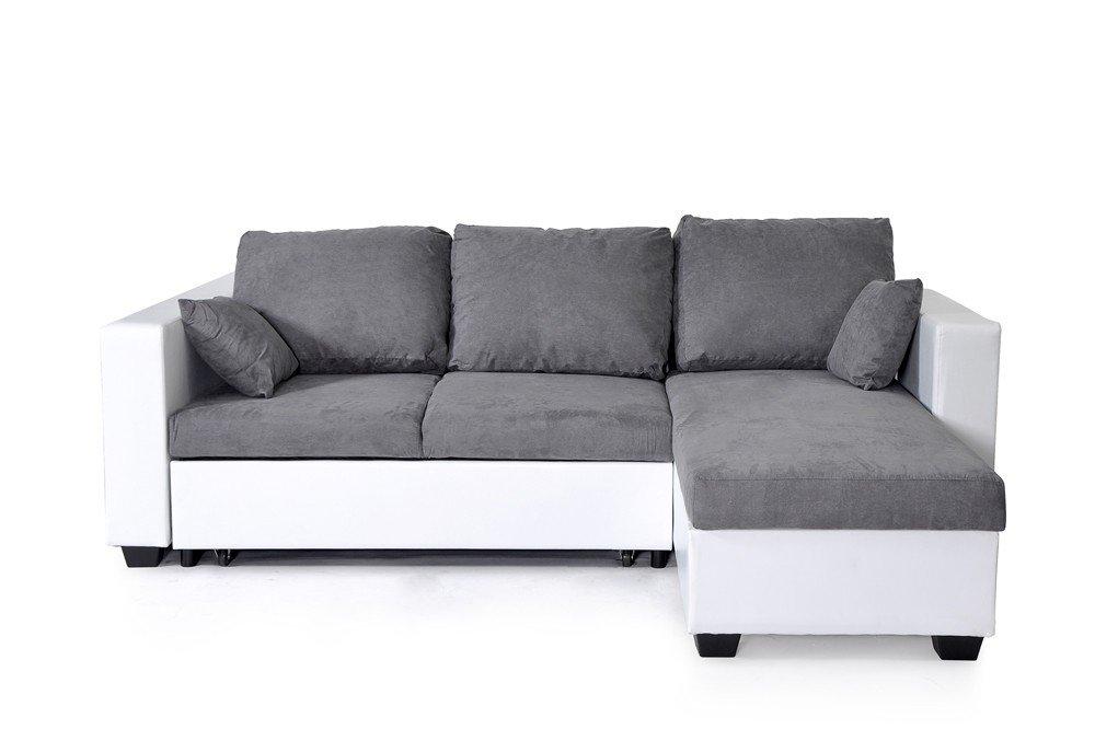 canape angle convertible microfibre barma blanc et gris