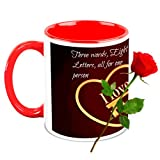 Love Gifts For Him - HomeSoGood Everything For Love White Ceramic Coffee Mug With Red Rose - 325 Ml