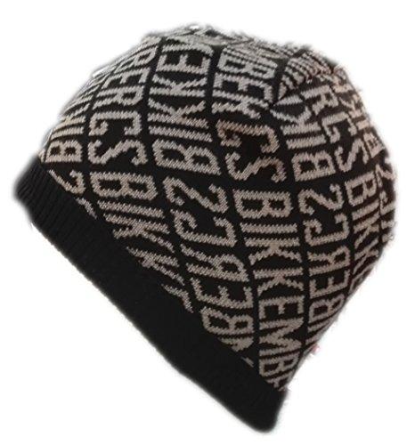 Cuffia Uomo Bikkembergs con risvolto HAt berretto cappello In lana Invernale Nero beige