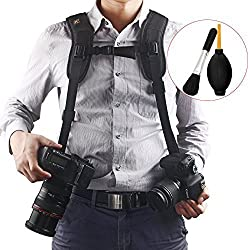Quick Release Double Dual Camera Shoulder Strap Harness,Konsait Adjustable Dual Camera sling Camera Neck Strap for Canon Nikon Olympus Pentax Panasonic Sony DSLR SLR - Blac