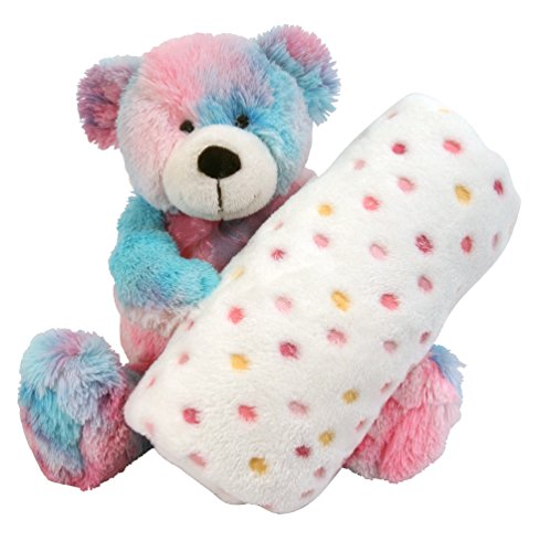 Stephan Baby Super Soft Fleece Blanket and Tie-Dye Teddy Bear Gift Set, Pinks and Blues - 1