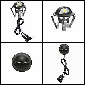FVTLED Pack of 50 Low Voltage LED Deck Lights kit Dia. 1.38 Outdoor Garden Yard Decoration Lamp Recessed Landscape Pathway Step Stair Cold White LED Lighting, Black (Color: Cold White (Black), Tamaño: 50pcs)