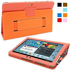 Snugg Galaxy Tab 2 10.1 Leather Case with Lifetime Guarantee - Flip Stand Cover with Elastic Strap and Protective Premium Nubuck Fibre Interior for Samsung Galaxy Tab 2 10.1 (Orange)