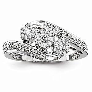 14K White Gold Diamond Three Stone Engagement Ring