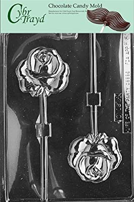 Cybrtrayd F060 Rose Lolly Chocolate Candy Mold with Exclusive Cybrtrayd Copyrighted Chocolate Molding Instructions