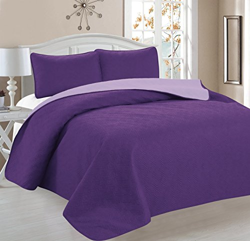 Ellington Home Greek Embroidered Reversible Quilt Set, Full/Queen, Purple/Lavender, 3 Piece (Queen Quilt Set Purple compare prices)