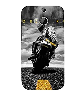Amazing racing Bike 3D Hard Polycarbonate Designer Back Case Cover for HTC One M8 :: HTC M8 :: HTC One M 8