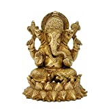 Redbag Lord Ganesha Seated On Lotus Brass Statue ( 13.97 Cm, 11.43 Cm, 10.16 Cm)
