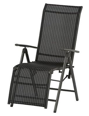SIENA GARDEN Delphi Relax silber/schwarz Gestell Aluminium silber/Textil schwarz von H. Gautzsch GmbH & Co. KG auf Gartenmöbel von Du und Dein Garten