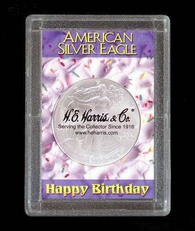 Harris 2x3 Happy Birthday Holder- SILVER EAGLES