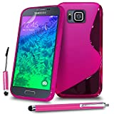 Samsung Galaxy Alpha G850 Hot Pink S Line Silicone Grip Series Wave Gel Case Skin Cover Mini & Big Touch Stylus Pen Screen Protector & Polishing Cloth BY MOBILE JOY