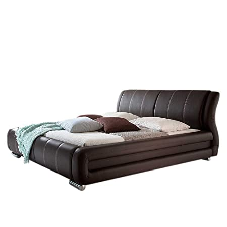 Bett in Dunkelbraun Kunstleder Breite 190 cm Liegefläche 160x200 Pharao24