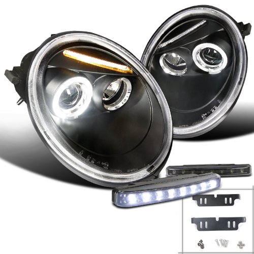 Vw Beetle Black Dual Halo Projector Headlight+8-Led Drl Bumper Fog Lamp