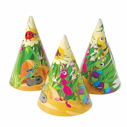 Dozen Insect Bug Theme Paper Birthday Party Hats With Chin Straps