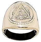 Masonic All Seeing Eye Pyramid Ring Illuminati Freemason Symbol in Bronze - Size 12.5