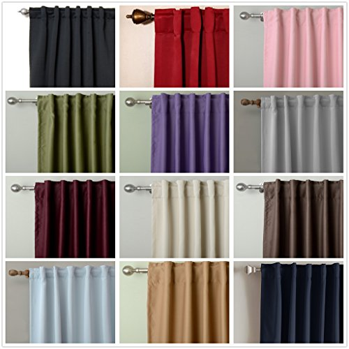 Chadmade Solid Thermal Insulated Blackout Curtain Drape Back Tab / Rod ...