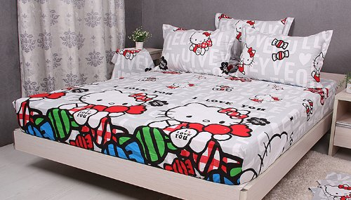 Cliab Hello Kitty Queen Fitted Sheet 100% Cotton