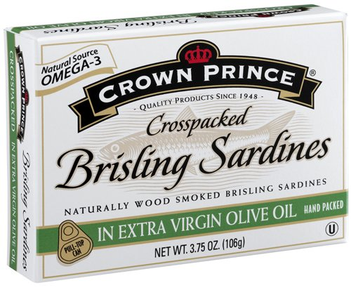 Crown Prince Crosspacked Brisling Sardines in Extra Virgin Olive Oil, 3.75-Ounce Cans... by Crown Prince