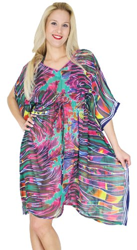 La Leela Sheer Multicolor Fire Printed Beach Cover Up