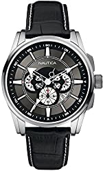 Nautica Multifunction Grey Dial Black Leather Mens Watch A21518G