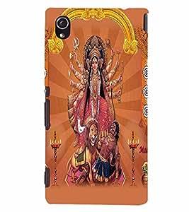 PrintVisa Religious & Spiritual Durga 3D Hard Polycarbonate Designer Back Case Cover for Sony Xperia M4 Aqua
