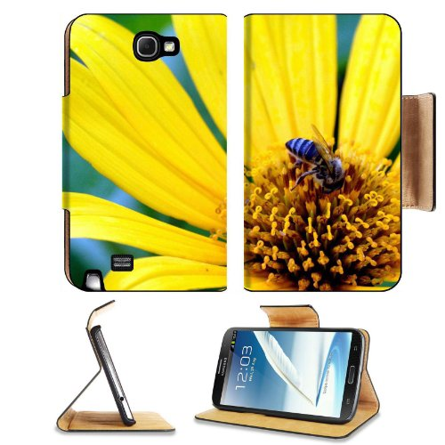 Bee Yellow Daisy Flower Petals Nectar Small Nature Insect Samsung Galaxy Note 2 N7100 Flip Case Stand Magnetic Cover Open Ports Customized Made To Order Support Ready Premium Deluxe Pu Leather 6 1/16 Inch (154Mm) X 3 5/16 Inch (84Mm) X 9/16 Inch (14Mm) Li front-808851
