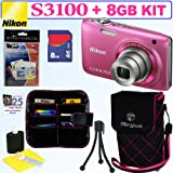Nikon Coolpix S3100 14 MP Digital Camera (Pink) + 8GB Accessory Kit