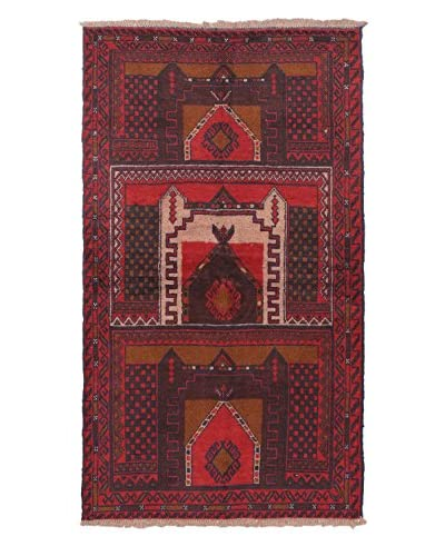Hand-Knotted Bahor Wool Rug, Red, 3' 8 x 6' 2