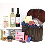 Victorian Luxury Treats Hat Box - Gourmet Hamper with 2 x 750ml Bottles Versare Wines & Delicious Treats in a Wooden Repllica Vintage Hat Box Hamper - Gift ideas for - Valentines,Presents,Birthday,Men,Him,Dad,Her,Mum,Thank you,Wedding Anniversary,Engagement,18th,21st,30th,40th,50th,60th,70th,80th,90th