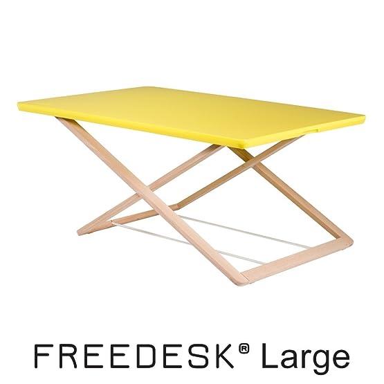 Freedesk, scrivania portatile in piedi. Altezza regolabile da seduta a in piedi. Semplice design svedese. Adatta a bambini., Yellow, 54x80cm