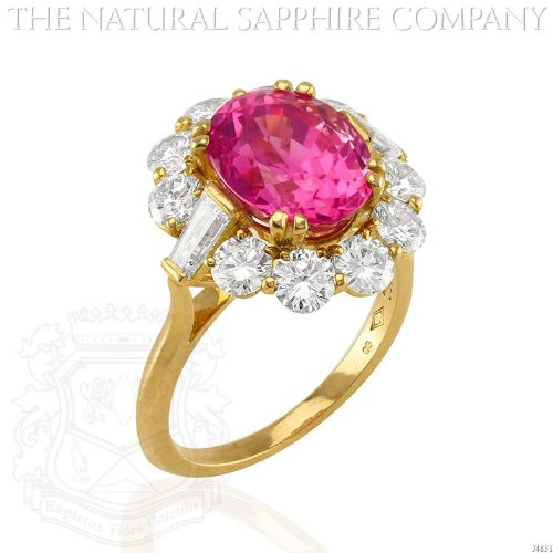 18K Yellow Gold, 5.87 Carat Unheated Oval Pink Sapphire and Diamond Ring