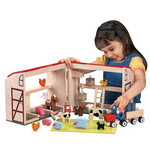 Children's Classic Wooden Barn Toy For Kids