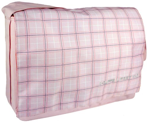 Baby Pink Plaid 15.4 inch Laptop Padded Compartment Shoulder Messenger Bag for K-Cliffs Lifestyle