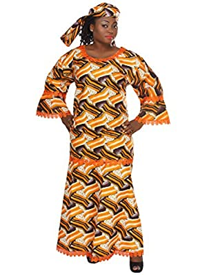 African Planet Women's Kente Inspired Wax Print Caftan with Lace Borders Orange