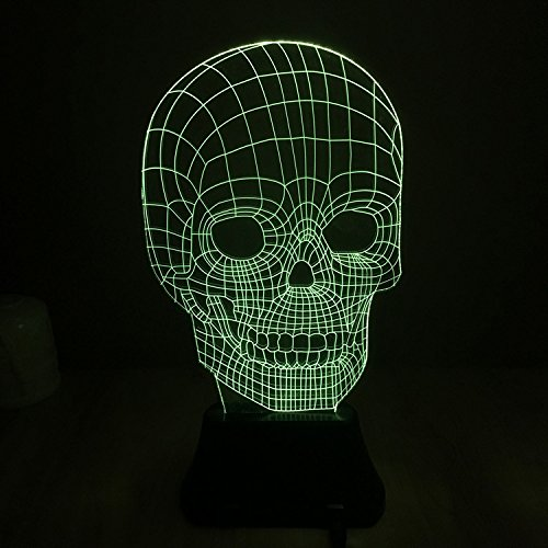 [ASSIS Halloween Light 7 Color 3D Skull Light Decoration Stereo Vision LED Lamp Romantic Atmosphere Lamp The Best Halloween Gift English] (Best Tv Show Halloween Costumes)