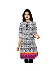 Adesa Cotton Black Self Print Kurti For Women