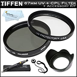 Tiffen 67mm Circular Polarizer Filter (CPL) + Tiffen 67mm UV Protection Filter For Nikon 18-105mm f/3.5-5.6 AF-S DX VR ED Nikkor Lens (2179) For Nikon DSLR Cameras + 67mm Lens Hood + Lens Cap Keeper + Lens Pen Cleaning Kit + MicroFiber Cleaning Cloth