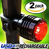 Bold II® Lifetime Warranty - 25 Lumen USB Rechargeable Bike Tail Light - 2-FOR-1 DEAL, Multi-Purpose Rear Bicycle Light - Fits All Bikes, Helmet or Backpack, Easy Install (No Tools), Waterproof - Micro USB Charging Cable Included - Limited Time Offer - Try RISK-FREE!