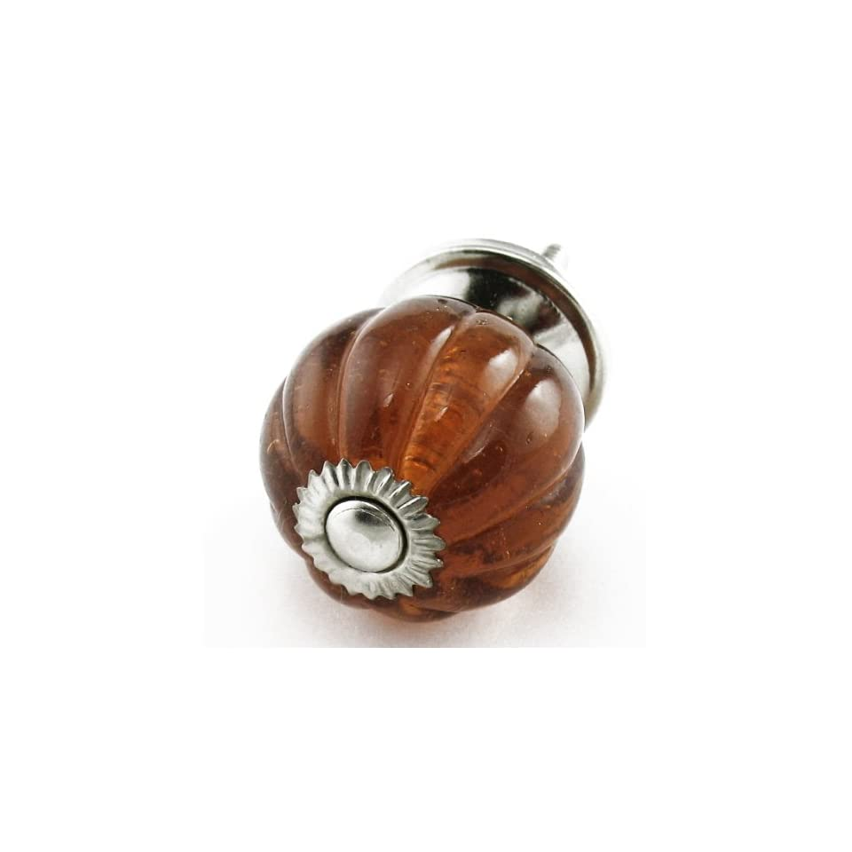 Sm Amber Glass Ball Cabinet Knobs, Drawer Pulls Knob & Handles Set/2 ~ K192 Vintage Style Old Amber Pumpkin Shaped Glass Knobs with Chrome Hardware. Glass Knobs, Handles & Pulls for Dresser, Drawers, Cabinets & Vanity