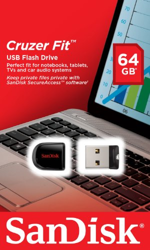 SanDisk Cruzer Fit CZ33 64GB USB 2.0 Low-Profile Flash Drive- SDCZ33-064G-B35