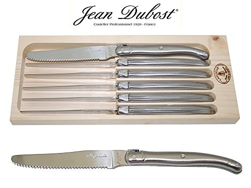 """French Laguiole Dubost - 6 Round Tip Table Dinner Knives - In All Stainless Steel - 9""""/23Cm - Also Used As Butter Knife/Spreader (Serrated Wavy Edge - Original Genuine Laguiole - Quality Family Inox Flatware/Cutlery Setting For 6 People - With Certificate"""