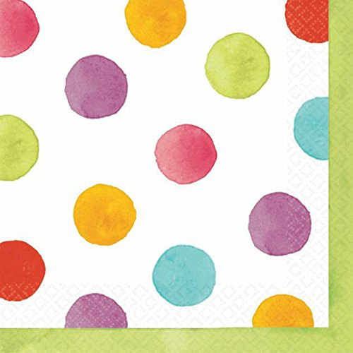 "Amscan Disposable Beverage Paper Napkins in Watercolor Polka Dots (36 Pack), 5 x 5"", Multicolored"