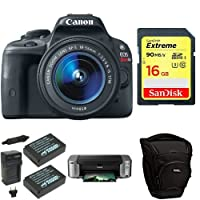 Canon EOS Rebel SL1 Digital SLR with 18-55mm STM Lens + PIMXA Pro 100 Printer, Photo Paper, Memory Card, Bag and Battery