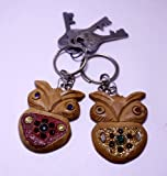 A Set of 2 Hand Carved Wooden Key Ring,keychain,wood Key Holder Keychain