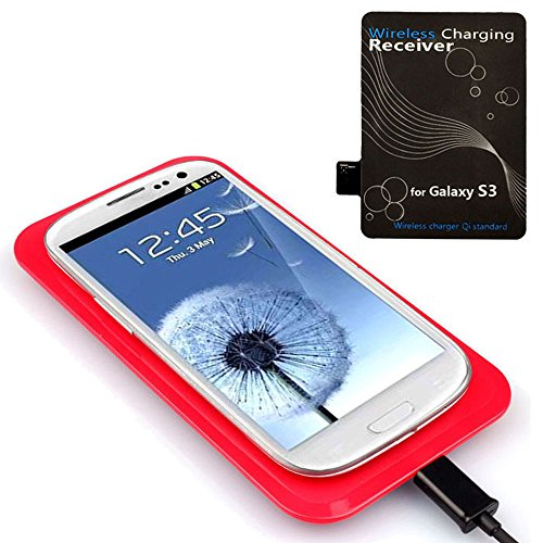 Bessky(Tm) 1Pc Qi Wireless Charger Charging Pad+Receiver Kit For Samsung Galaxy S3 I9300 (Red)