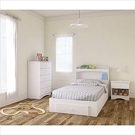 Nexera Vichy 4 Piece Twin Bedroom Set in White and Melamine