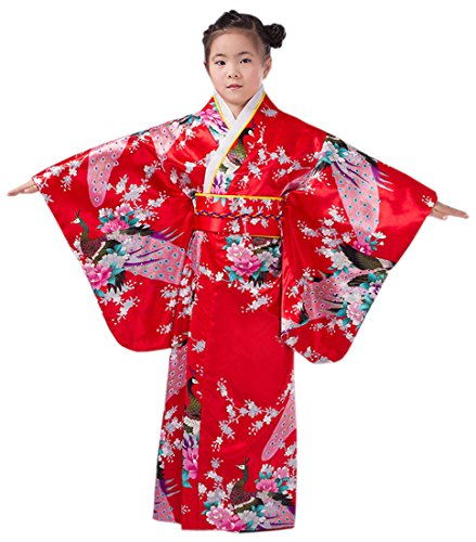 YueLian Kids Girl Silk Yukata Japanese Traditional Costume Kimono Robe Dress (150, red)